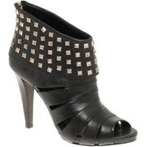 ASH Women's •Kate• Peep-Toe Studded Booties-Black